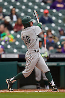 Hawaii Rainbow Warriors shortstop Jacob Sheldon-Collins (25) swings the bat during the NCAA baseball game against the Nebraska Cornhuskers on March 7, 2015 at the Houston College Classic held at Minute Maid Park in Houston, Texas. Nebraska defeated Hawaii 4-3. (Andrew Woolley/Four Seam Images)