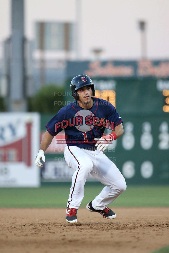 Ramon Laureano (1) of the Lancaster JetHawks runs the bases during a game against the Visalia Rawhide at The Hanger on July 6, 2016 in Lancaster, California. Lancaster defeated Visalia, 10-7. (Larry Goren/Four Seam Images)
