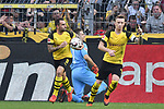 06.10.2018, Signal Iduna Park, Dortmund, GER, DFL, BL, Borussia Dortmund vs FC Augsburg, DFL regulations prohibit any use of photographs as image sequences and/or quasi-video<br /> <br /> im Bild Paco Alcacer (#9, Borussia Dortmund) jubelt nach seinem Tor zum 1:1 mit Marco Reus (#11, Borussia Dortmund) <br /> <br /> Foto &copy; nph/Horst Mauelshagen