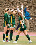 MIDDLETOWN, CT-111817JS30- Holy Cross' Kiley Harnish (9) Madison Bushka (13) and (2) McKenna Ellsworth react after Old Lyme scored what would be the game-winning goal in overtime during their Class S state final game Saturday at Middletown High School.<br /> Jim Shannon Republican-American