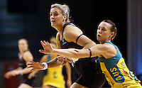 20.10.2015 Silver Ferns Leana de Bruin and Australia's natalie Medhurst in action during the Silver Ferns v Australian Diamonds netball test match played ay Horncastle Arena in Christchruch. Mandatory Photo Credit ©Michael Bradley.