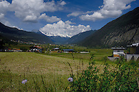 Austrian fields and farm building, Imst district, Tyrol/Tirol, Austria, Alps.