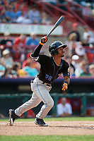 Akron RubberDucks third baseman Ivan Castillo (28) flies out during a game against the Erie SeaWolves on August 27, 2017 at UPMC Park in Erie, Pennsylvania.  Akron defeated Erie 6-4.  (Mike Janes/Four Seam Images)
