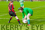 Listowel Celtic's U/14 substitute goalie Mary Bates saves  from  AK United's Courtney Duhig  in the quarter final of the Nation cup at Pat Kennedy Park, Listowel on Sunday last.