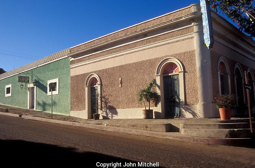 Restored 19th-century buildings in the Spanish colonial town of Todos Santos , Baja California Sur, Mexico