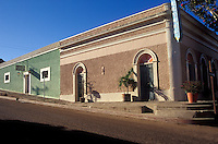 Restored 19th-century buildings in the Spanish colonial town of Todos Santos , Baja California Sur, Mexico