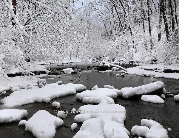 A Snow Covered Little Creek In Winter, Keehner Park, Southwestern Ohio