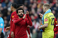 7th March 2020; Anfield, Liverpool, Merseyside, England; English Premier League Football, Liverpool versus AFC Bournemouth; Mohammed Salah of Liverpool  applauds supporters on the Kop as the match ends with a 2-1 Liverpool win