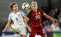 Orlando City, FL - Wednesday March 07, 2018: Jodie Taylor, Allie Long  during a 2018 SheBelieves Cup match between the women's national teams of the United States (USA) and England (ENG) at Orlando City Stadium.
