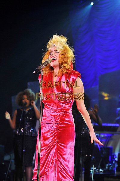 Paloma Faith.Performing in concert, Hammersmith Apollo, London, England, UK, .7th February 2012..half length pink dress microphone live on stage music gig singing  red ruched velvet .CAP/MAR.© Martin Harris/Capital Pictures.
