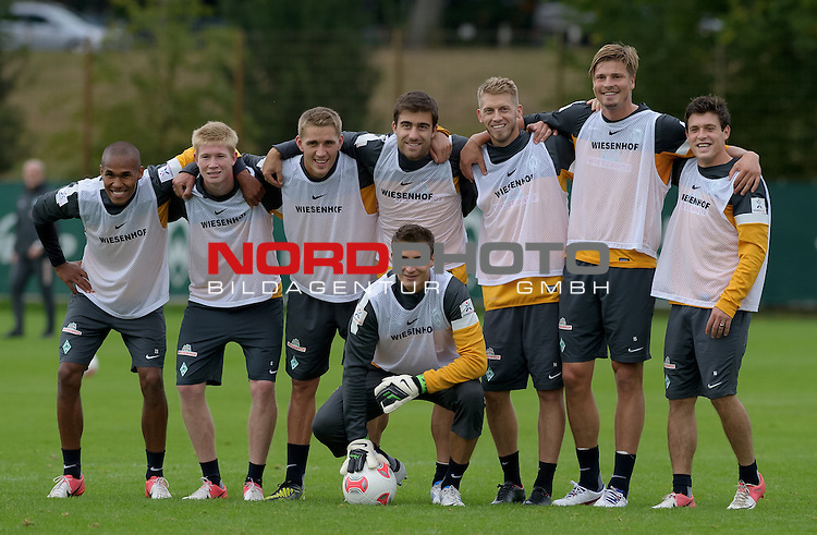 13.09.2012, Trainingsgelaende, Bremen, GER, 1.FBL, Training Werder Bremen, im Bild Das Siegerteam: Theodor Gebre Selassie (Bremen #23), Kevin de Bruyne (Bremen #6), Nils Petersen (Bremen #24), Sokratis (Bremen #22), Aaron Hunt (Bremen #14), Sebastian Pr&ouml;dl / Proedl (Bremen #15), Zlatko Junuzovic (Bremen #16) und vorn Sebastian Mielitz (Bremen #1)<br /> <br /> // during training session of Werder Bremen on 2012/09/13, Trainingsgelaende, Bremen, Germany.<br /> Foto &copy; nph / Frisch *** Local Caption ***