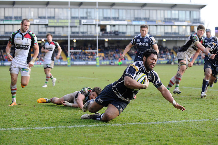 20130317 Copyright onEdition 2013©.Free for editorial use image, please credit: onEdition..Johnny Leota of Sale Sharks scores a try during the LV= Cup Final between Harlequins and Sale Sharks at Sixways Stadium on Sunday 17th March 2013 (Photo by Rob Munro)..For press contacts contact: Sam Feasey at brandRapport on M: +44 (0)7717 757114 E: SFeasey@brand-rapport.com..If you require a higher resolution image or you have any other onEdition photographic enquiries, please contact onEdition on 0845 900 2 900 or email info@onEdition.com.This image is copyright onEdition 2013©..This image has been supplied by onEdition and must be credited onEdition. The author is asserting his full Moral rights in relation to the publication of this image. Rights for onward transmission of any image or file is not granted or implied. Changing or deleting Copyright information is illegal as specified in the Copyright, Design and Patents Act 1988. If you are in any way unsure of your right to publish this image please contact onEdition on 0845 900 2 900 or email info@onEdition.com