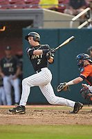 John McKenna (21) of the Army Black Knights follows through on his swing against the Auburn Tigers at Doak Field at Dail Park on June 2, 2018 in Raleigh, North Carolina. The Tigers defeated the Black Knights 12-1. (Brian Westerholt/Four Seam Images)