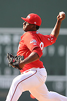 Relief pitcher German Taveras (38) of the Greenville Drive in a game against the Augusta GreenJackets on Sunday, July 13, 2014, at Fluor Field at the West End in Greenville, South Carolina. Greenville won, 8-5. (Tom Priddy/Four Seam Images)