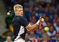 Gent, Belgium, November 27, 2015, Davis Cup Final, Belgium-Great Britain, Kyle Edmund (GRB)<br /> Photo: Tennisimages/Henk Koster