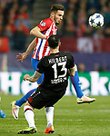 Atletico de Madrid's Saul Niguez (t) and Bayer 04 Leverkusen's Roberto Hilbert during Champions League 2016/2017 Round of 16 2nd leg match. March 15,2017. (ALTERPHOTOS/Acero)