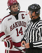 Alexander Kerfoot (Harvard - 14), Todd Whittemore - The Harvard University Crimson defeated the visiting Cornell University Big Red on Saturday, November 5, 2016, at the Bright-Landry Hockey Center in Boston, Massachusetts.