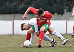 2018-03-04 / voetbal / seizoen 2017-2018 / White Star - Oud-Turnhout / een gevecht om de bal tussen Jelle Van Der Heyden (l) (White Star) en Youssef Belhaj (r) (Oud-Turnhout)