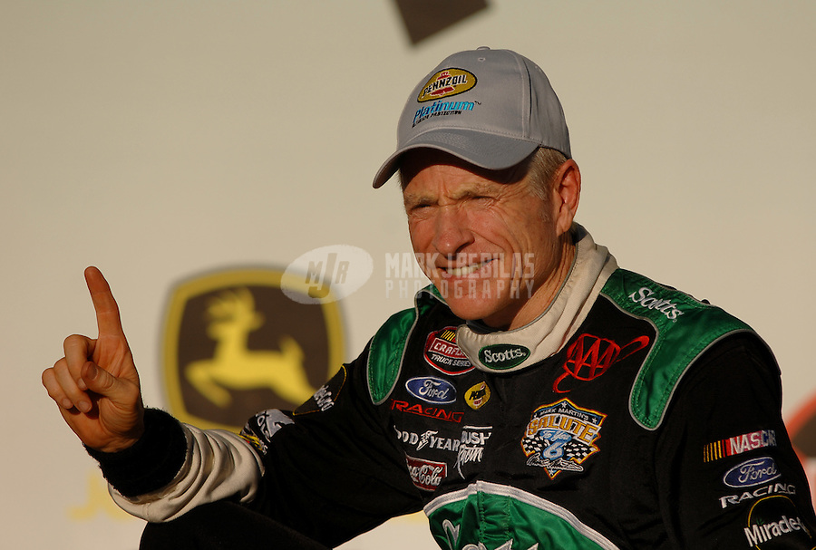 Oct 7, 2006; Talladega, AL, USA; Nascar Craftsman Truck Series driver Mark Martin (6) celebrates after winning the John Deere 250 at Talladega Superspeedway. The race marked the first time the truck series has raced at Talladega. Mandatory Credit: Mark J. Rebilas
