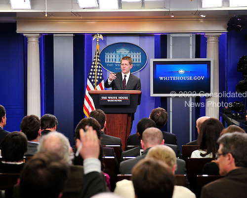United States President Barack Obama's new Press Secretary, Jay Carney, holds his first briefing in the Briefing Room of the White House in Washington, D.C. on Wednesday, February 16, 2011..Credit: Ron Sachs / CNP