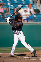 San Jose Giants second baseman Jalen Miller (2) at bat during a California League game against the Lancaster JetHawks at San Jose Municipal Stadium on May 12, 2018 in San Jose, California. Lancaster defeated San Jose 7-6. (Zachary Lucy/Four Seam Images)