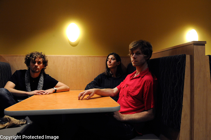 USA. Purchase. 3rd October 2008..Chairlift. Left to right, Patrick Wimberly, Caroline Polachek and Aaron Pfennig..©Andrew Testa
