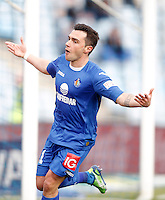 Getafe's Adrian Colunga celebrates during La Liga match. February 16, 2013. (ALTERPHOTOS/Alvaro Hernandez) /Nortephoto