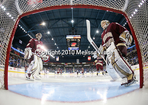 Parker Milner (BC - 35), John Muse (BC - 1) - The University of Massachusetts-Lowell River Hawks defeated the Boston College Eagles 3-1 (EN) on Saturday, January 23, 2010, at Tsongas Arena in Lowell, Massachusetts.