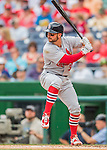 29 May 2016: St. Louis Cardinals infielder Greg Garcia in action against the Washington Nationals at Nationals Park in Washington, DC. The Nationals defeated the Cardinals 10-2 to split their 4-game series. Mandatory Credit: Ed Wolfstein Photo *** RAW (NEF) Image File Available ***