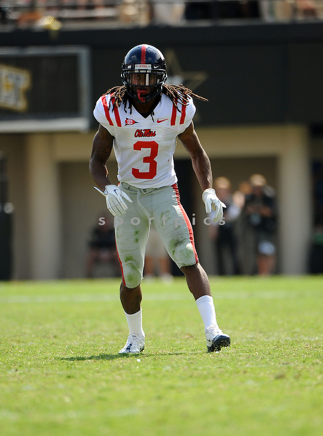 CHARLES SAWYER, of the Ole Miss Rebels, in action during the  Ole Miss game against the Vanderbilt Commodores on September 17, 2011 at Vanderbilt Stadium in Nashville, TN. Vanderbilt beat Ole Miss 30-7.