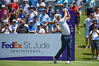 Justin Rose (GBR) watches his tee shot on 1 during round 1 of the WGC FedEx St. Jude Invitational, TPC Southwind, Memphis, Tennessee, USA. 7/25/2019.<br /> Picture Ken Murray / Golffile.ie<br /> <br /> All photo usage must carry mandatory copyright credit (© Golffile | Ken Murray)