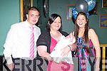 BABY JOY: Proud mother Katie Leen, Ballymac with Godparents Maurice Leen and Tracey Moore of little Blake who was Christening at St Brendan's Church, Clogher by Fr Pat Crean-Lynch and celebrated afterwards with family and friends at Dowidies bar, Tralee on Sunday.