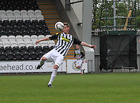 Thomas Reilly with the acrobatic shot to score in the St Mirren v Celtic Scottish Professional Football League Under 20 match played at St Mirren Park, Paisley on 30.4.14.