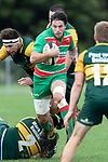 Nathan Miller has the Pukekohe defenders in disarray as he makes a run through the midfield.  Counties Manukau Premier Club rugby game between Pukekohe and Waiuku, played at Colin Lawrie Fields, Pukekohe on Saturday April 14th, 2018. Pukekohe won the game 35 - 19 after leading 9 - 7 at halftime.<br /> Pukekohe Mitre 10 Mega -Joshua Baverstock, Sione Fifita 3 tries, Cody White 3 conversions, Cody White 3 penalties.<br /> Waiuku Brian James Contracting - Lemeki Tulele, Nathan Millar, Tevta Halafihi tries,  Christian Walker 2 conversions.<br /> Photo by Richard Spranger