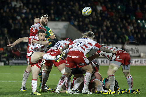 27.11.2015.  Franklin's Gardens, Northampton, England. Aviva Premiership. Northampton Saints versus Gloucester. Greig Laidlaw of Gloucester Rugby  kicks clear.
