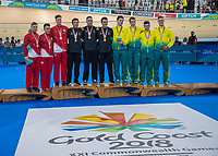 Mens Sprint team of Eddie Dawkins, Ethan Mitchell and  Sam Webster win gold, England take silver and Australia Bronze. Track Cycling, Anna Meares Arena, Commonwealth Games, Gold Coast, Australia. Thursday 5 April, 2018. Copyright photo: John Cowpland / www.photosport.nz /SWPix.com