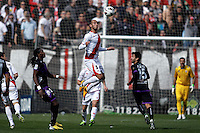 Rayo Vallecano's Alejandro Arribas (c) and Real Valladolid's  Manucho and Bueno (r)  during La Liga  match. February 24,2013.(ALTERPHOTOS/Alconada)