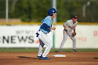 Mikey Filia (29) of the Burlington Royals takes his lead off of second base against the Danville Braves at Burlington Athletic Stadium on August 9, 2019 in Burlington, North Carolina. The Royals defeated the Braves 6-0. (Brian Westerholt/Four Seam Images)