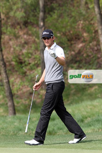 Bernd Wiesberger (AUT) on the 18th on Day 3 of the Ballantines Championship 2012 at Blackstone Golf Course, Icheon, Korea...(Photo Jenny Matthews/www.golffile.ie)