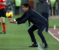 Football, Serie A: S.S. Lazio - Hellas Verona, Olympic stadium, Rome, February 5, 2020. <br /> Lazio's coach Simone Inzaghi takes the ball during the Italian Serie A football match between S.S. Lazio and Hellas Verona at Rome's Olympic stadium, Rome, on February 5, 2020. <br /> UPDATE IMAGES PRESS/Isabella Bonotto