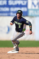 Vermont Lake Monsters designated hitter Joe Bennie (3) running the bases during a game against the Jamestown Jammers on July 13, 2014 at Russell Diethrick Park in Jamestown, New York.  Jamestown defeated Vermont 6-2.  (Mike Janes/Four Seam Images)