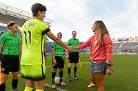Chicago, IL - Sunday Sept. 04, 2016: Keelin Winters, Julianne Sitch prior to a regular season National Women's Soccer League (NWSL) match between the Chicago Red Stars and Seattle Reign FC at Toyota Park.