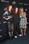 Left to right Karen Elson, Grace Coddington and Nicole Purcell arrive at the 2017 Clio Awards in The Tent at Lincoln Center in New York City on September 27, 2017.