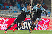 Celta de Vigo's Rafinha (l) and Nolito celebrates goal during La Liga match.November 23,2013. (ALTERPHOTOS/Mikel)