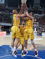 Herbalife Gran Canaria's Xavi Rey, Javier Beiran and Spencer Nelson during Spanish Basketball King's Cup match.February 07,2013. (ALTERPHOTOS/Acero)