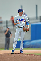 Florida Gators starting pitcher Jackson Kowar (37) stands on the mound during the game against the Wake Forest Demon Deacons in Game Two of the Gainesville Super Regional of the 2017 College World Series at Alfred McKethan Stadium at Perry Field on June 11, 2017 in Gainesville, Florida.  (Brian Westerholt/Four Seam Images)