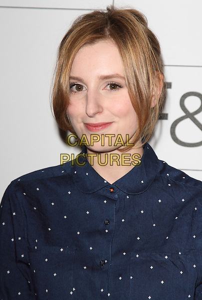 Laura Carmichael.F&F autumn/winter 2013 collection showcase at Somerset House, London, May 16th 2013..portrait headshot blue white print polka dot shirt .CAP/ROS.©Steve Ross/Capital Pictures.