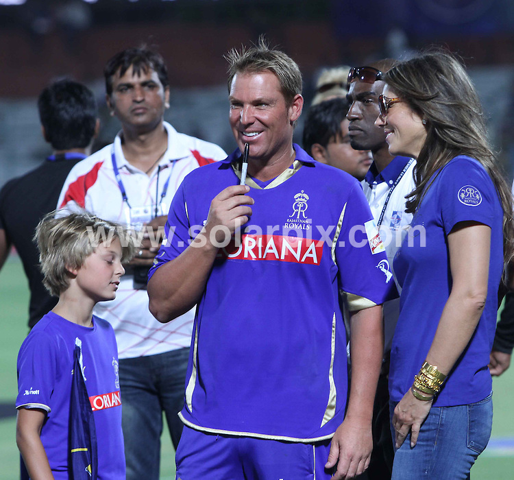**ALL ROUND PICTURES FROM SOLARPIX.COM**                                             **WORLDWIDE SYNDICATION RIGHTS**                                                                                  Liz Hurley is visiting India to be with her boyfriend Shane Warne and to cheer on his cricket team.  Shane is captain of Reajasthan Royals.                                                                         This pic:     Liz Hurley and Shane Warne in Jaipur after match on 29th April, 2011                                                                                         JOB REF:   13241     SJA       DATE:    30.04.01                                                        **MUST CREDIT SOLARPIX.COM OR DOUBLE FEE WILL BE CHARGED**                                                                      **MUST AGREE FEE BEFORE ONLINE USAGE**                               **CALL US ON: +34 952 811 768 or LOW RATE FROM UK 0844 617 7637**