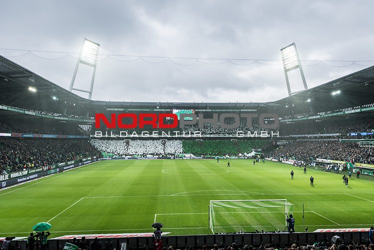 10.02.2019, Weserstadion, Bremen, GER, 1.FBL, Werder Bremen vs FC Augsburg<br /> <br /> DFL REGULATIONS PROHIBIT ANY USE OF PHOTOGRAPHS AS IMAGE SEQUENCES AND/OR QUASI-VIDEO.<br /> <br /> im Bild / picture shows<br /> Choreo in der Ostkurve des Weserstadion vor Spielbeginn zu Ehren des 120-j&auml;hrigen Vereinsjubil&auml;ums, <br /> <br /> Foto &copy; nordphoto / Ewert