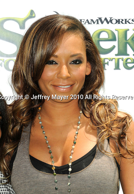 """UNIVERSAL CITY, CA. - May 16: Melanie """"Mel B"""" Brown arrives at the """"Shrek Forever After"""" Los Angeles Premiere at Gibson Amphitheatre on May 16, 2010 in Universal City, California."""